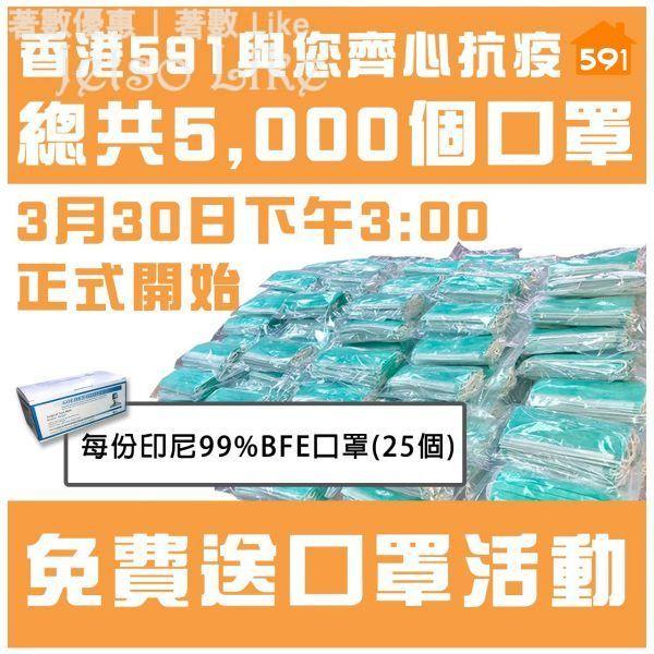 香港591房屋交易網 免費送出 5,000個 口罩