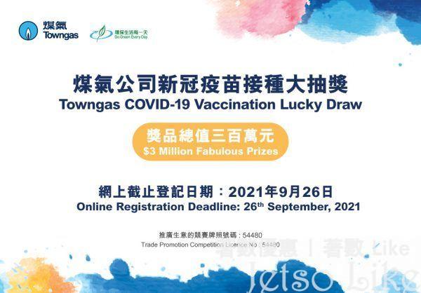 煤氣公司 疫苗接種大抽獎 送出300萬元獎賞